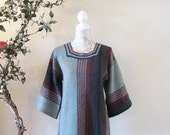 BIG ASS SALE vintage 70s knit sweater tunic top bell sleeves Asian boho hippie Spring green teal mauve
