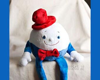 "Custom 16"" Stuffed Soft & Comfy Humpty Dumpty - Stuffed Egg - Stuffed Toy - Softie - Toy - Fairy Tales - Abby Glassenberg Humpty Dumpty"