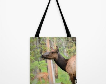 Cow Elk Tote Bag - photo tote bag