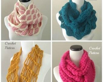 CROCHET PATTERN SET, Crochet Infinity Scarf Pattern, Crochet Infinity Cowl Pattern, Crochet Circle Scarf Pattern