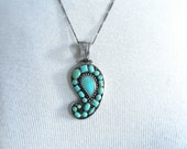 Vintage Chunky BOHO Turquoise and Sterling Paisley Pendant Chain Necklace - Statment Pendant Sterling Silver 60s style Turquoise Paisley