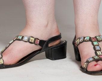 Vintage 1960s Black T Strap Sandals - Signals Mosaic Tile Shoes - Summer Fashions Size 8 M