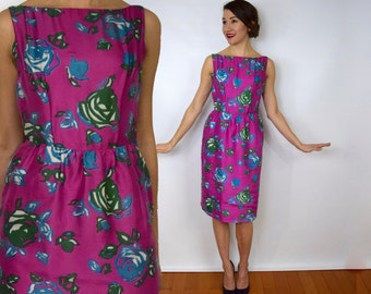 50s Floral Silk Party Dress | Pink Blue Print Wiggle Dress, Extra Small
