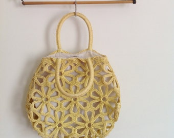 Vintage Yellow Flower Caged Boho Hippy Purse // 1970s