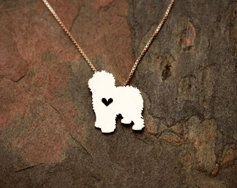 Old English Sheepdog necklace, sterling silver necklace, hand cut pendant, heart dog jewelry