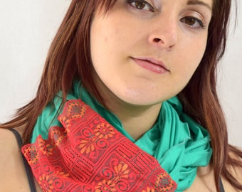 Ultra Soft Infinity Scarf Hood with Lace - One of a Kind - Classy and Mysterious - AquaMarine - Fiery Floral Red/Orange Lace