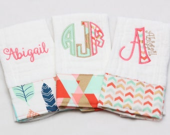 Baby Burp Cloth Set - Personalized - Coral Chevrons and Feathers