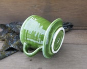 Ceramic Coffee Pourover Dripper Maker Dark Green Porcelain Gift Idea For the Home, Handmade Artisan Pottery by Licia Lucas Pfadt