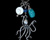 FREE SHIPPING---Octopus Blue Peruvian Opal Shiva Shell Lapis Necklace---Sterling Silver---Creations by Sandy