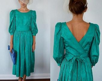 Vintage Laura Ashley Green Cotton Dress, Vintage Dress, Vintage Laura Ashley, Laura Ashley, Cotton Dress, Dinner, Evening