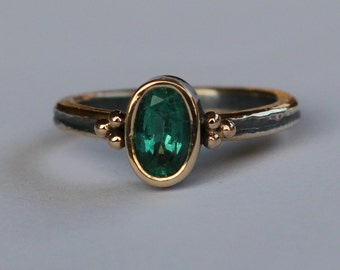 Ring For A Queen 3 - 1.15 ct Natural Certified Medium Dark Green Columbian Emerald Oxidized Sterling And 18K Gold Ring SZ 8