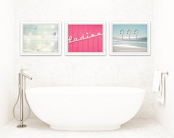 Bathroom Art Set Of 3 Prints, Girl Bathroom Decor, Pink And Blue Bathroom  Art