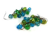 Blue and Green Brass Cluster Dangles, Brass Beaded Chainmaille Earrings Green Cluster, Green and Blue Glass Earrings Blue Jewelry Green