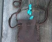 ON SALE Leather drawstring bag ,  Handmade leather pouch ,    Buckskin fetish bag , Medicine bag