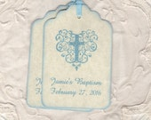 Blue Baptism Favor Tags, Custom Boy Communion Favor Tags, Personalized Blue Christening Tags, Blue Boy Cross Tags - Vintage Style Set Of 20
