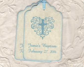 Baptism Favor Tags For Boys, Boy Communion Favor Tags, Personalized Blue Christening Tags, Blue Boy Cross Tags - Vintage Style Set Of 20