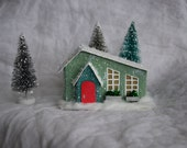 Green Bungalow (glitter house for Christmas village)