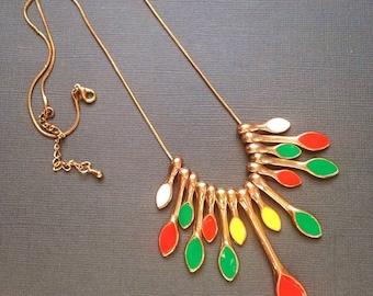 Enamel Necklace Colorful Dangling Pendants Gold Chain