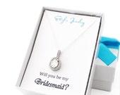 Bridesmaid Proposal Necklace, Bridal Party Proposal, Bridesmaid Proposal Gift, Cubic Zirconia Wedding Sets, Will You Be My Bridesmaid Gift