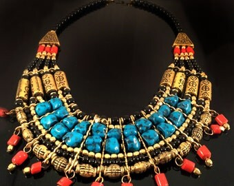 Turquoise Gold Bib Necklace,Nepal Necklace,Statement Jewelry,Tribal Jewelry,Tibet Necklace by Taneesi