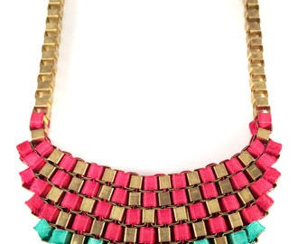 Metal link necklace ,Green&reddish Pink- gold  chain,Museum style unique necklace,Bib,Statement jewelry,contemproary art design byTaneesi