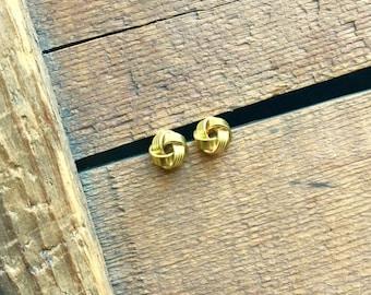 brass earrings / brass jewelry / tiny studs / TINY BRASS KNOTS