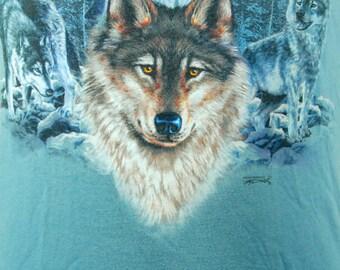 Light Blue Wolf T-Shirt, Size Small