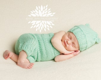 Newborn Ribbed Knit Romper with Matching Flour Sack Hat - Simply Solids Romper - Mint Green - Knit Flour Sack Hat - Photography Prop