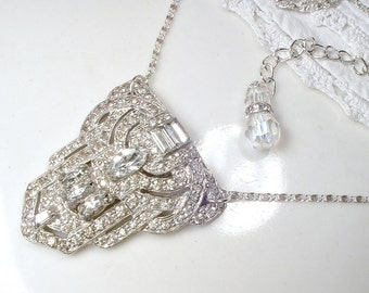 Original Art Deco Dress Clip Pendant Necklace, Paste Rhinestone 1930 Vintage Flapper Bridal Necklace Antique Gatsby Jewelry TRIFARI PHILIPPE