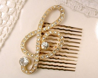 Treble Clef Clear Rhinestone Bridal Hair Comb, Crystal Gold Musical Note Vintage Brooch to Hair Accessory Music Wedding Hair Clip Jewelry