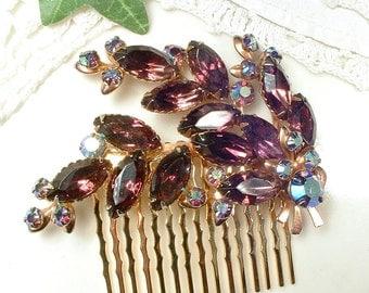Vintage Purple Rhinestone Gold Bridal Hair Comb, Plum Amethyst Hairpiece, Eggplant Purple Hair Piece Rustic Country Vintage Wedding Burgundy