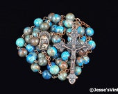 Catholic Rosary Beads Rustic Blue Crazy Lace Agate Natural Stone Copper Traditional Five Decade Unisex