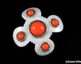 Signed Hobe Brooch Enamel Coral White Dimensional Mid 50s Jewelry