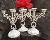 One Petite Mini White Candleabra Candelabra Candle Holders - Made in Italy