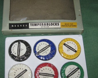Old Stock Vintage Tempera Reeves Temperablocks Non Toxic Box 6 Color Paint Artist Paint Supplies