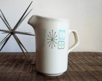 Mid Century Atomic Starburst White and Avocado Green Creamer Pitcher