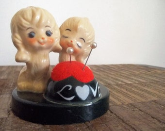 Little Vintage Love Pups Pin Cushion