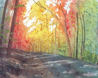 Fall Colors Landscape Watercolor Painting, Autumn Road - Fine Art Archival Print - Limited Edition Art by Laura D. Poss