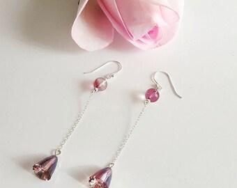 Lilac Shadow Swarovski Crystal Earrings with Sterling Silver Chain, Long Earrings, Chain Earrings, designbybehin