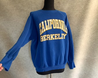 Vintage 70's UC BERKELEY Sweatshirt, Knit Top, Royal Blue with White and Yellow, Long Sleeve, Women's Size Medium