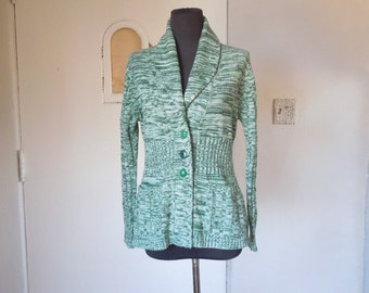Vintage 70's Cardigan Sweater, Ribbed Sleeves, Marled Green and White, Bohemian, Ethnic Small to Medium