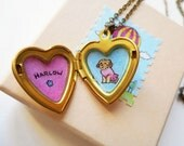 Pet Portrait Jewelry - Custom Portrait from Photos with Personalized Name - Heart Locket Necklace - Pet Lover, Pet Memorial, Pet Loos Gift