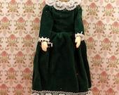 Vintage Miniature Woman Doll Victorian Dollhouse Grey Hair Grandma Green Dress