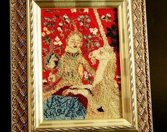 The Lady and The Unicorn Wall Hanging. The Tapestry Collection. Medieval Art. Framed Art. Needlecraft. Red.