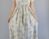 Vintage 90s Women's Sand Beige Blue Roses Floral Print Boho Short Sleeve Casual Summer Day Dress