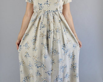 Vintage 90s Women's Sand Beige Blue Roses Floral Print Boho Short Sleeve Casual Summer Day Dress