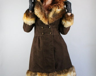Vintage 60s 70s Women's Faux Fur Vegan Fur Trimmed Faux Suede Russian Princess Groupie Rock n Roll Fall Winter Coat