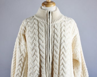 80s Aran Knit Sweater, Unisex Sweater, Cream Irish Wool Fisherman's Cardigan, Zipper Sweater, FREE SHIPPING