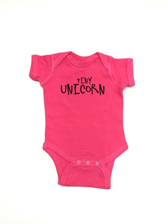 Baby Girl Clothes Tiny Unicorn esie Pink by