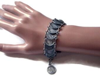 Vintage Paris Souvenir Bracelet - Silver Parisian Bracelet - Silver Coin Bracelet - French Vacation Souvenir - 1970s Jewelry